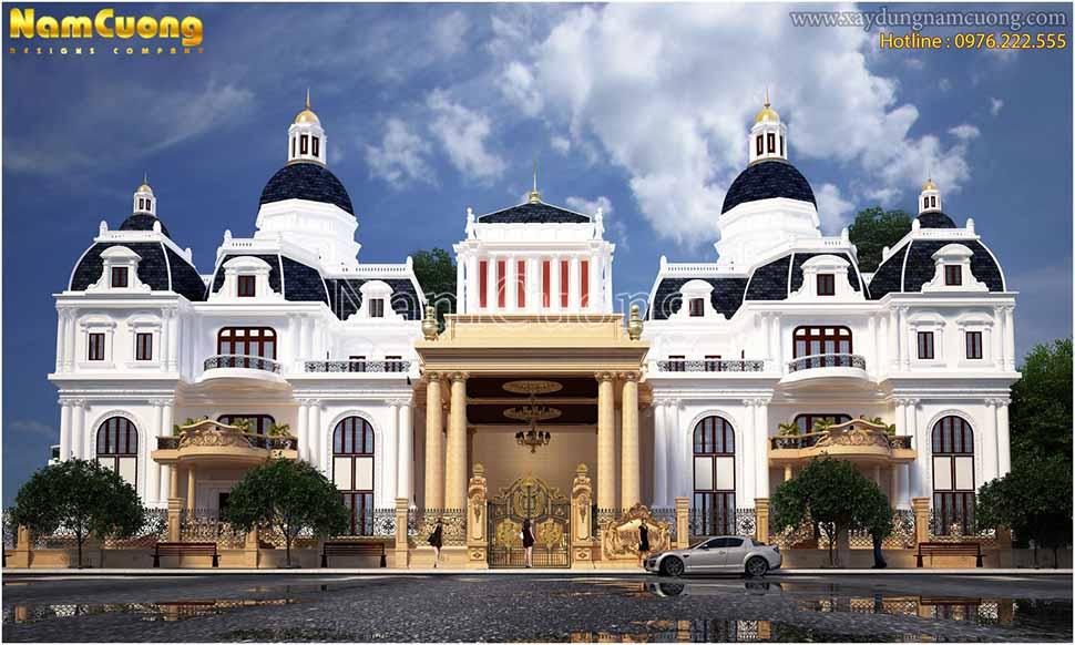Tổng thể kiến trúc biệt thự lâu đài tráng lệ, đẳng cấp