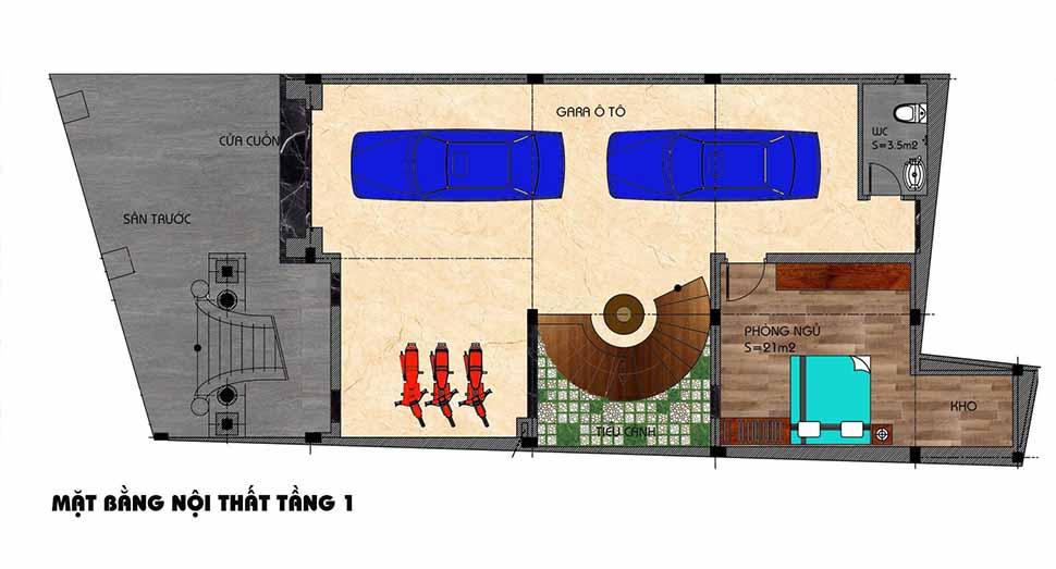 Bản vẽ mặt bằng thi công nội thất biệt thự lâu đài