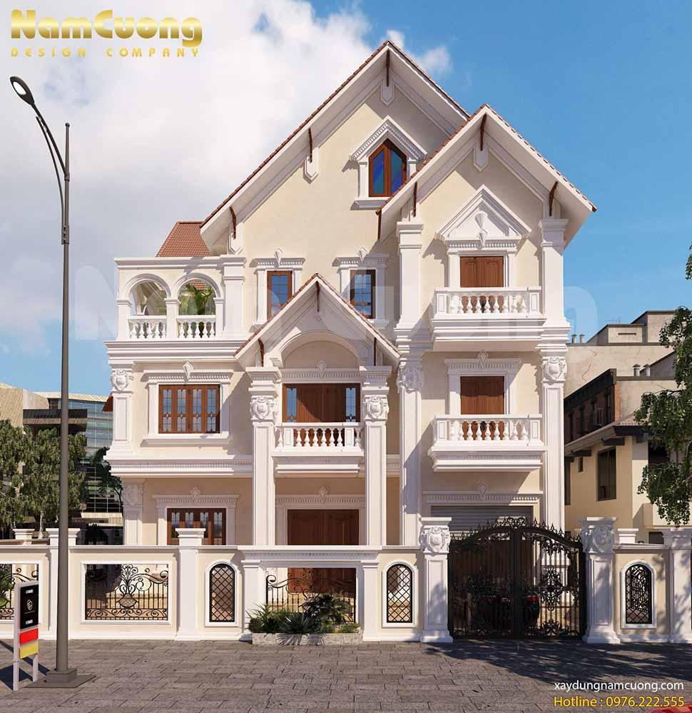 thiết kế ngôi biệt thự 3 tầng 1 tum gồm 3 tầng và 2 mặt tiền