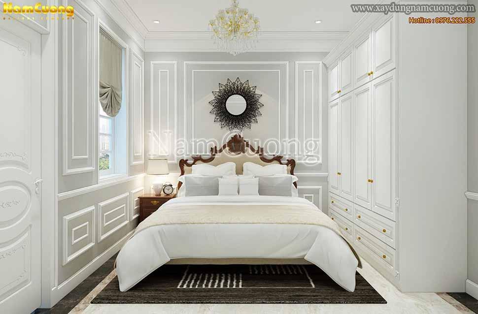 không gian phòng ngủ biệt thự 3 tầng 110m2