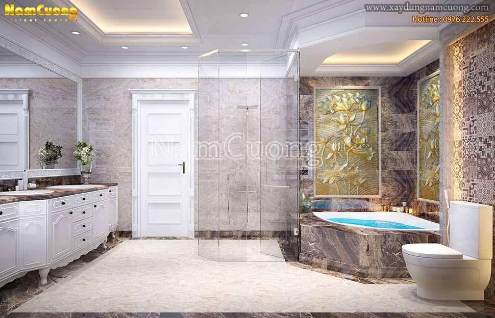 không gian rộng rãi của phòng tắm