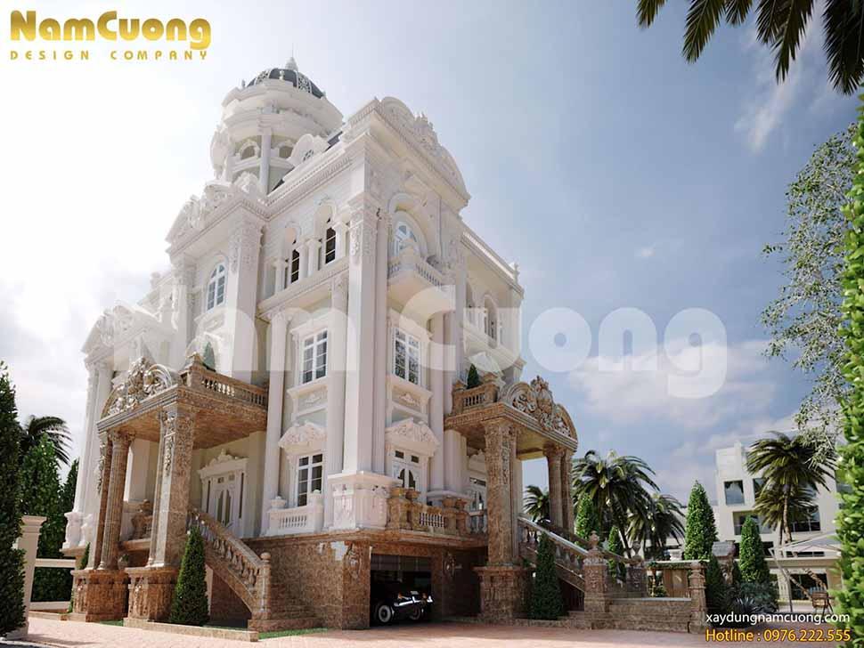 Sự kết hợp hài hòa giữa màu trắng và màu vàng tạo nên vẻ đẹp nhẹ nhàng, quyến rũ cho biệt thự lâu đài Cường Phú