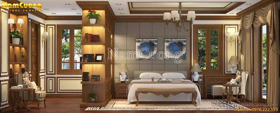 không gian sang trọng của phòng ngủ tân cổ điển