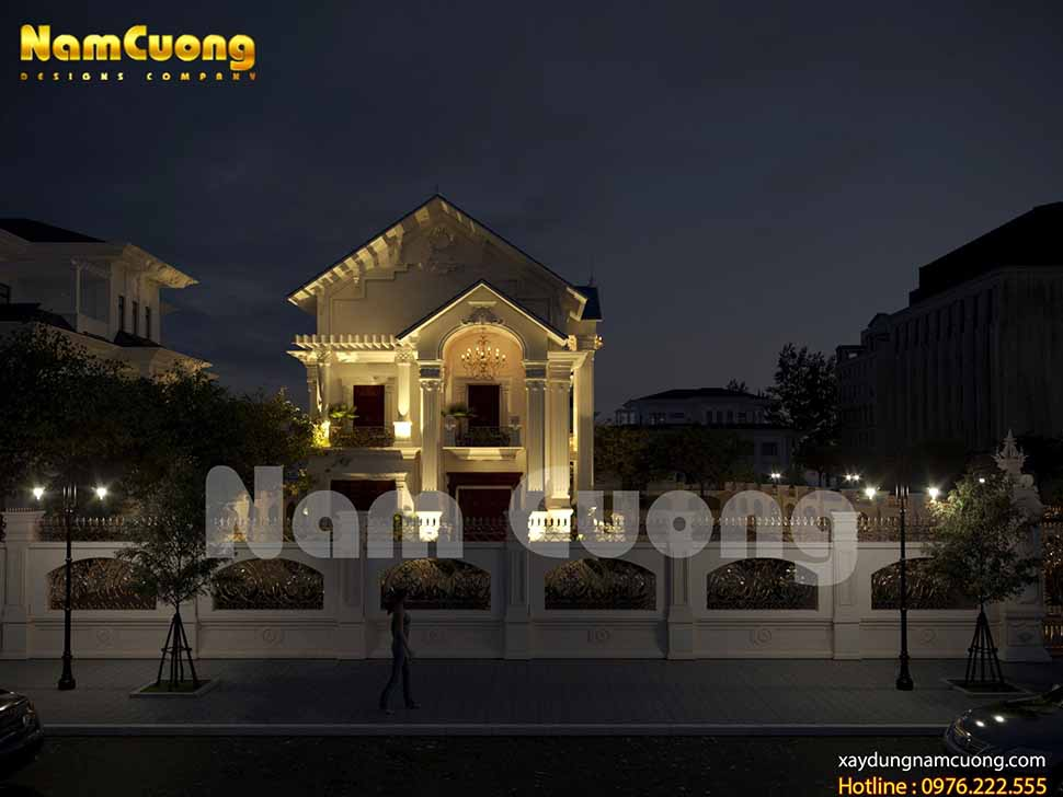 kiến trúc ngôi biệt thự bán cổ điển đẹp