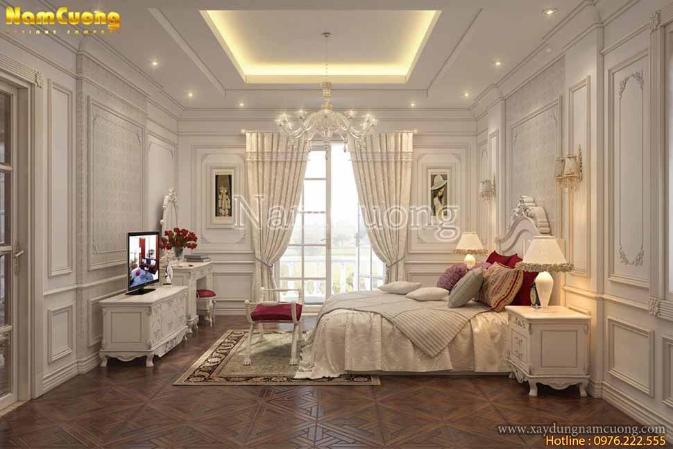 phòng ngủ biệt thự Pháp cổ điển 3 tầng