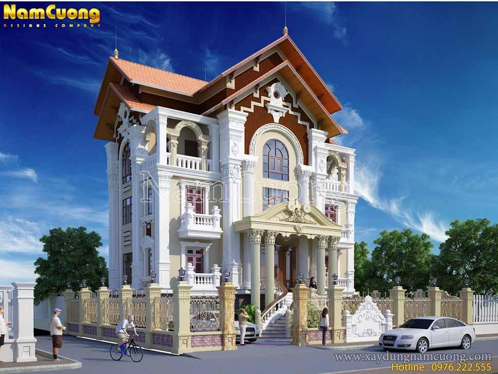 thiết kế biệt thự 3 tầng cổ điển kiểu pháp