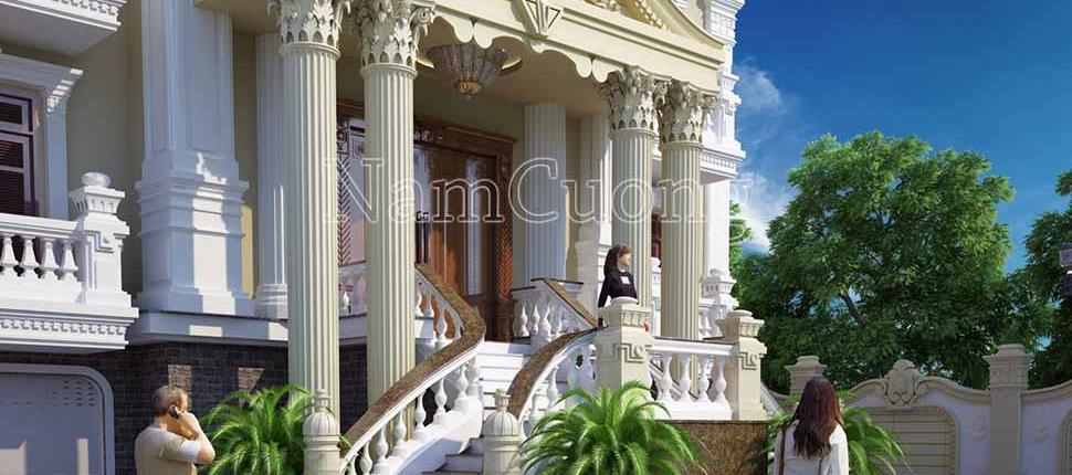 tiền sảnh biệt thự 3 tầng cổ điển pháp