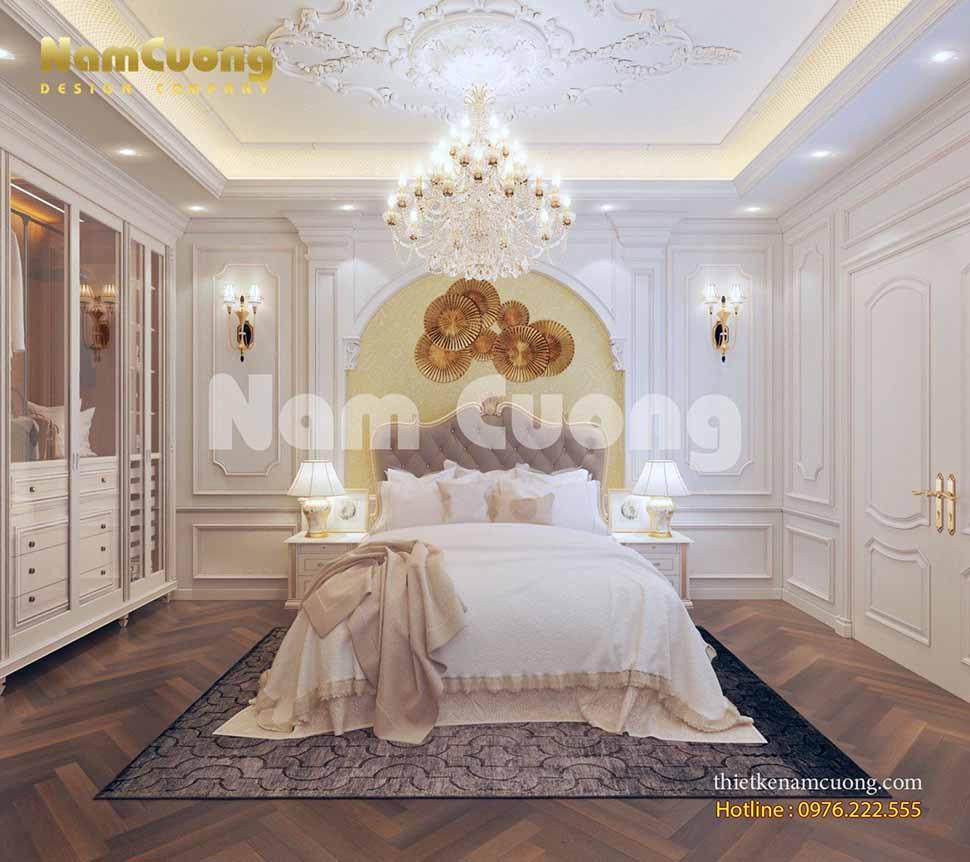 Một không gian phòng ngủ trong ngôi biệt thự