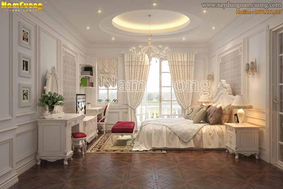 phòng ngủ biệt thự châu âu cổ điển
