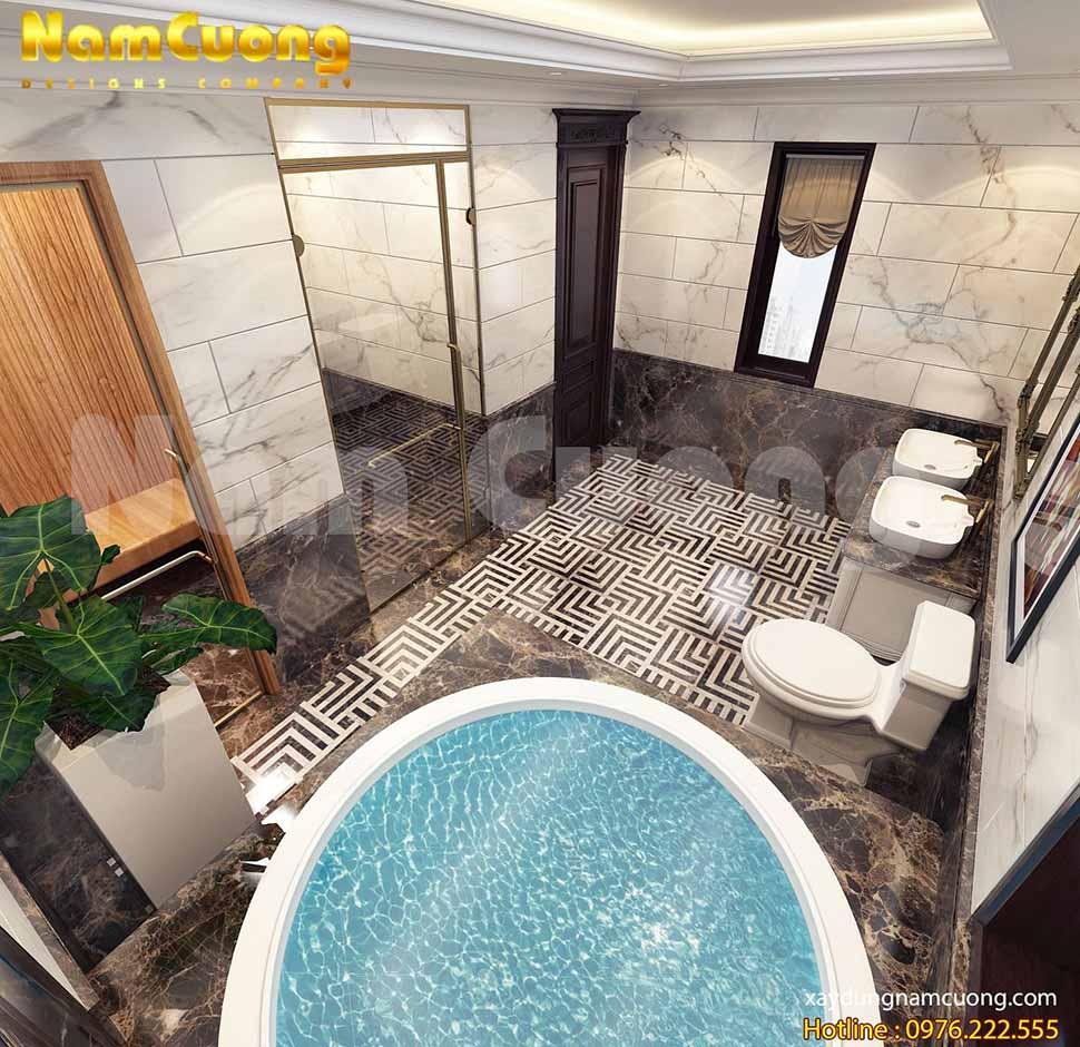 Phòng xông hơi kết hợp phòng tắm và không gian vệ sinh là sự sáng tạo, mới mẻ, nó mang lại những phút giây thư giãn tuyệt vời