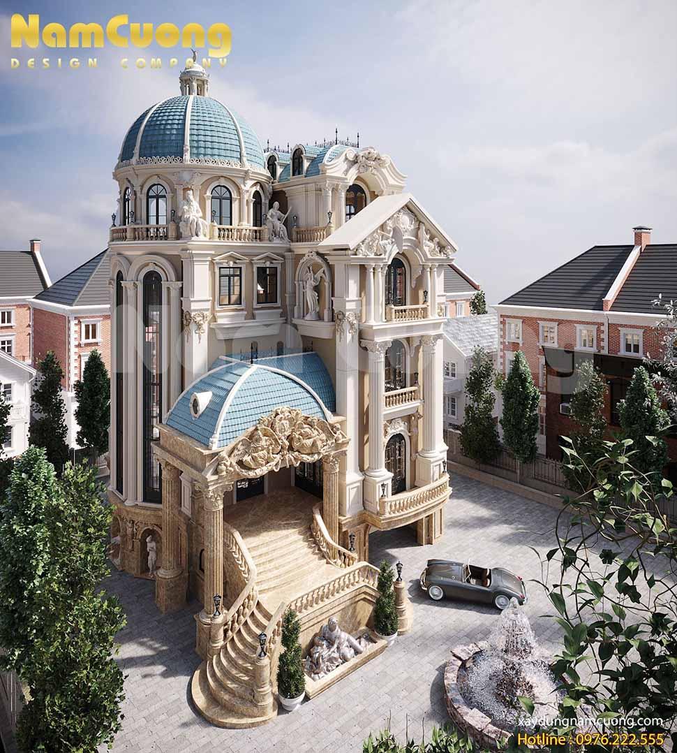 Kiến trúc biệt thự lâu đài cổ điển 4 tầng