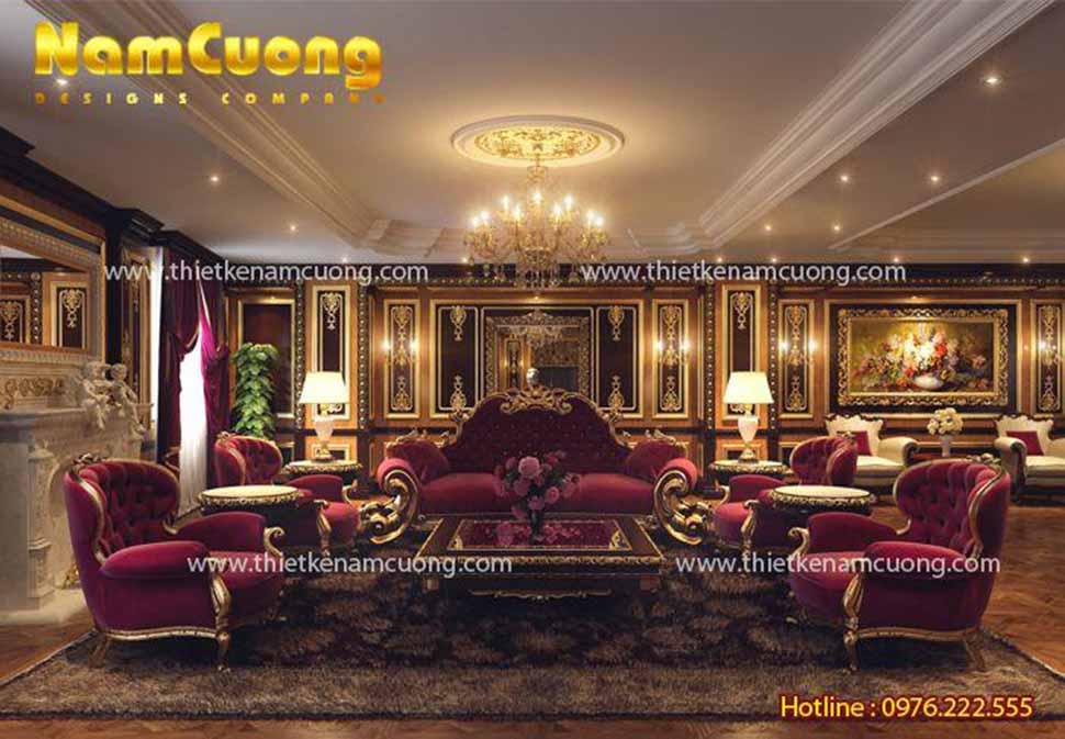 Nội thất phòng khách vô cùng xa hoa với kiểu dáng và chất liệu cao cấp