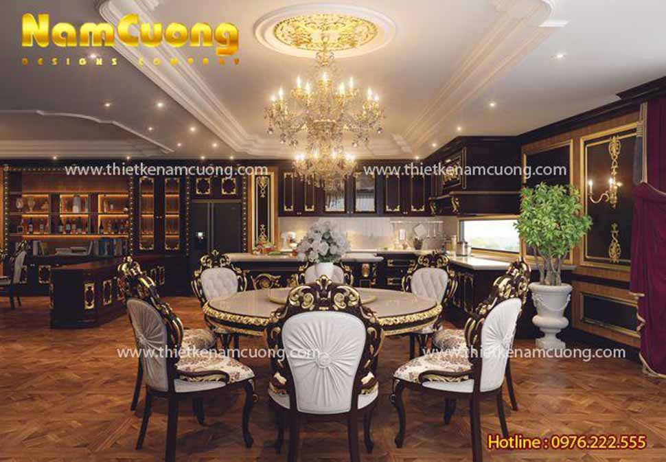 Bàn ăn lịch lãm, sang trọng biệt thự lâu đài Pháp 3.5 tầng