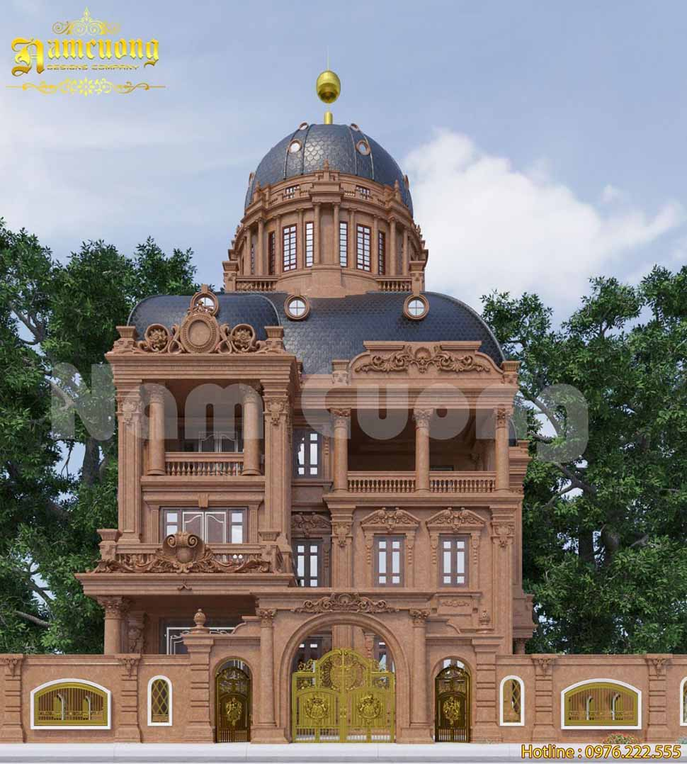 Mặt tiền biệt thự lâu đài mái vòm ấn tượng tại Bắc Ninh