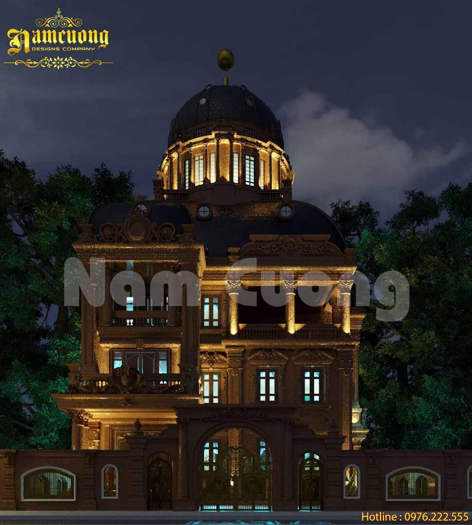 Vẻ đẹp lung linh về đêm của biệt thự lâu đài tại Bắc Ninh