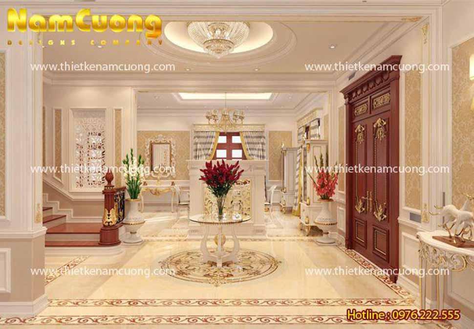 Tiền sảnh sang trọng trong căn biệt thự
