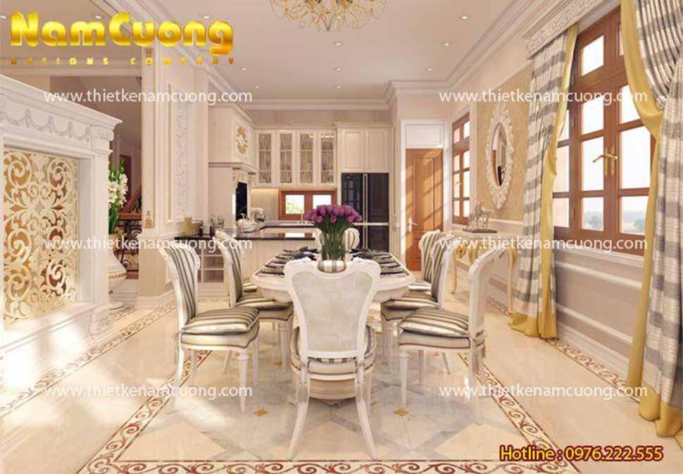 Phòng bếp và bàn ăn trong biệt thự tân cổ điển