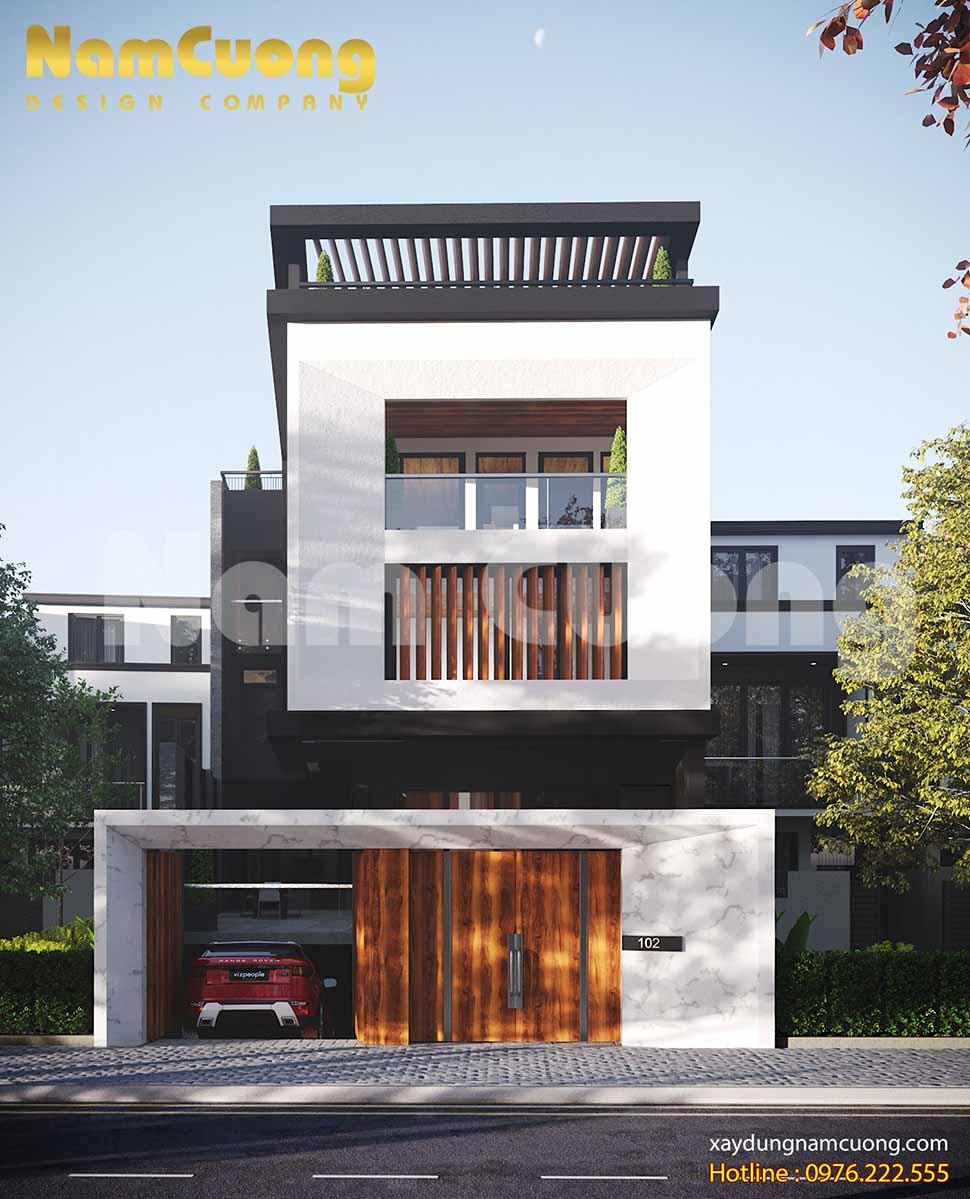 mặt tiền biệt thự phố hiện đại