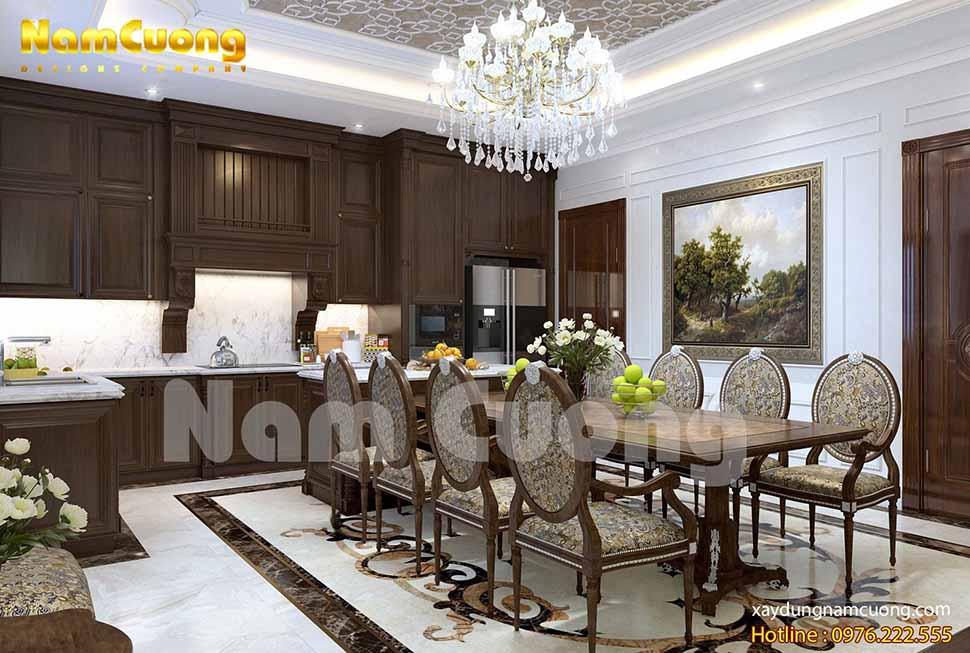 Nội thất phòng bếp của ngôi biệt thự tân cổ điển 2 mặt tiền cũng mang vẻ đẹp Châu u tương đồng