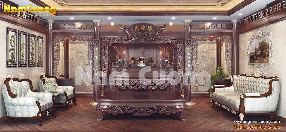 phòng thờ biệt thự tân cổ điển 2 mặt tiền