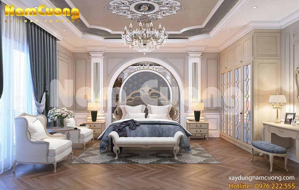 phòng ngủ biệt thự tân cổ điển 2 mặt tiền