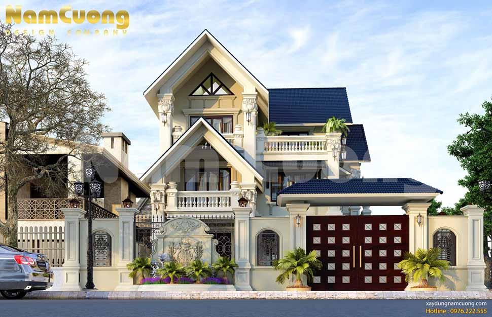 Nam Cường giới thiệu mẫu thiết kế biệt thự phong cách tân cổ điển được thiết kế gồm 3 tầng của CĐT anh Tiếm.