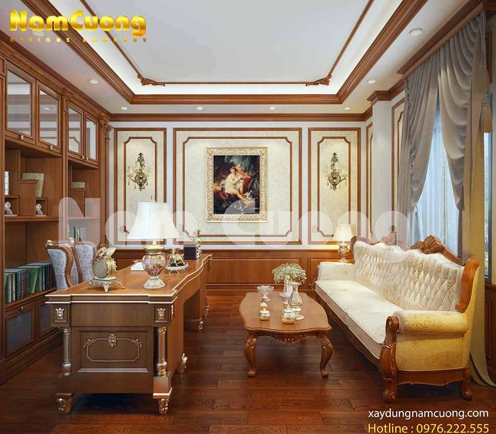 Phòng làm việc trong mẫu nội thất biệt thự tân cổ điển được thiết kế tinh tế, đẹp mắt.