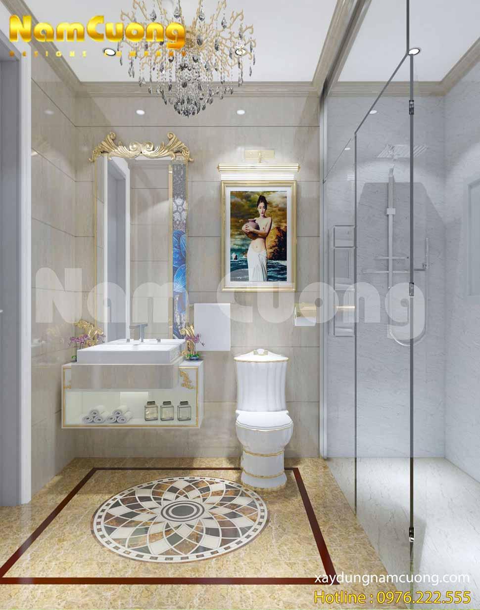 Nội thất phòng vệ sinh sử dụng đá hoa cương màu tối, được thiết kế gọn gàng và đầy đủ công năng.
