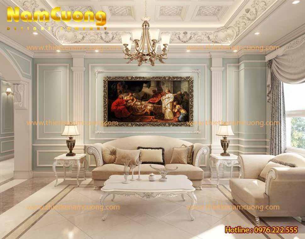 Phòng khách căn hộ chung cư tân cổ điển
