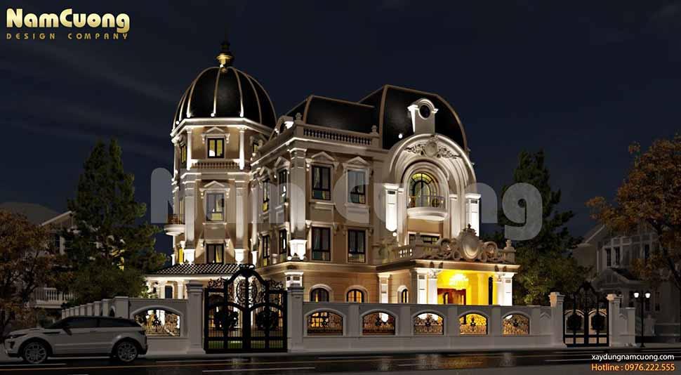 Biệt thự lâu đài Pháp tại Sài Gòn lung linh về đêm