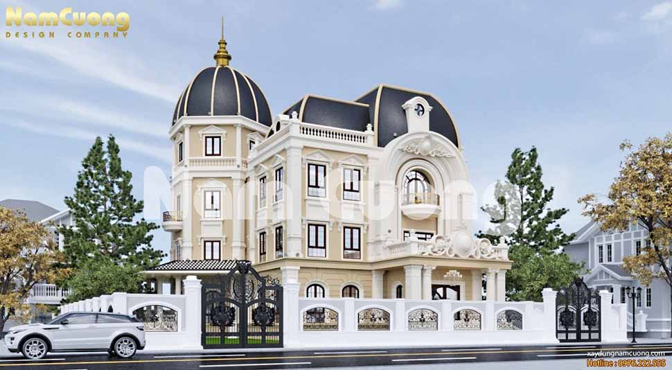 Biệt thự lâu đài với mái chóp nhọn và mái marsand kết hợp làm nổi bật kiến trúc lâu đài Pháp