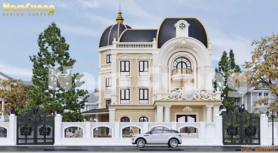 Cửa sổ được thiết kế xung quanh biệt thự lâu đài có tác dụng chống nóng, ẩm, phù hợp với khí hậu Việt Nam
