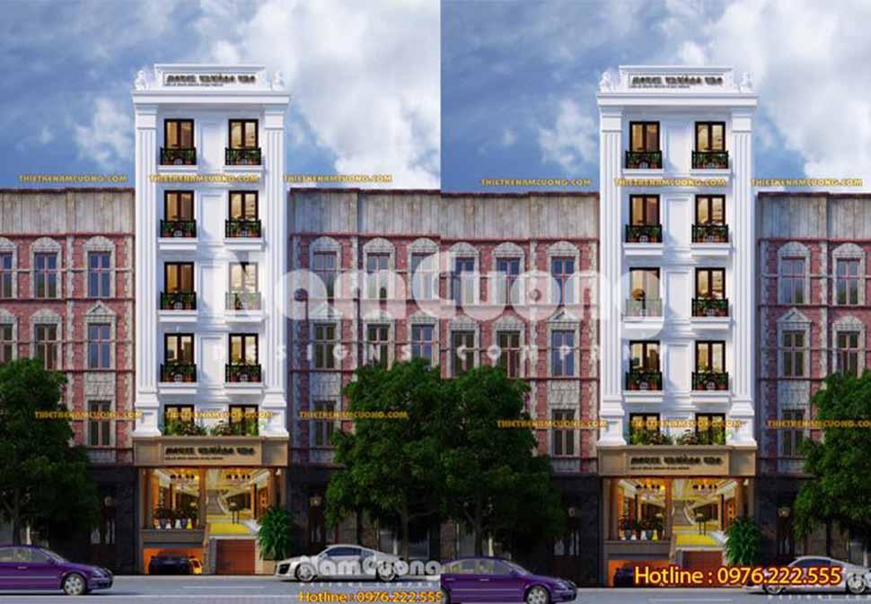 Phối cảnh khách sạn mặt tiền 10m 7 tầng kiến trúc tân cổ điển