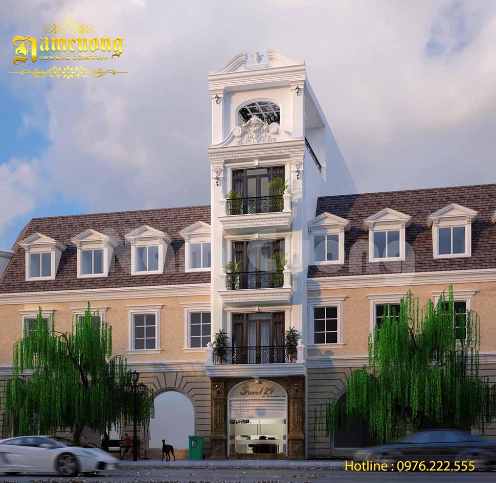 Mặt tiền công trình khách sạn mini 5x20 kết hợp nhà ở 5 tầng