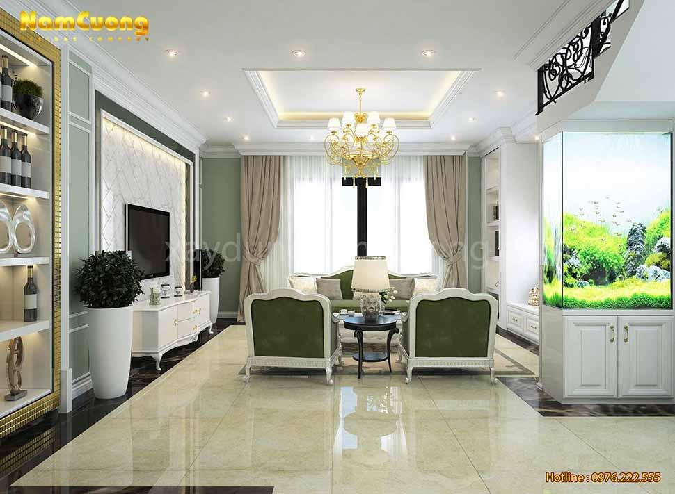nội thất phòng khách màu xanh
