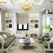 không gian phòng khách xanh