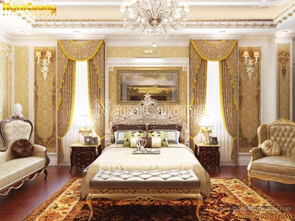 không gian phòng ngủ kiến trúc lâu đài