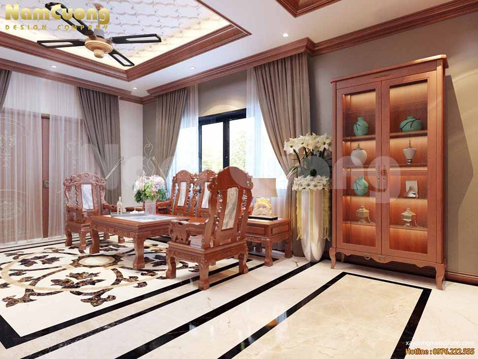Bàn tiếp khách được làm bằng gỗ tự nhiên để tăng thời gian sử dụng