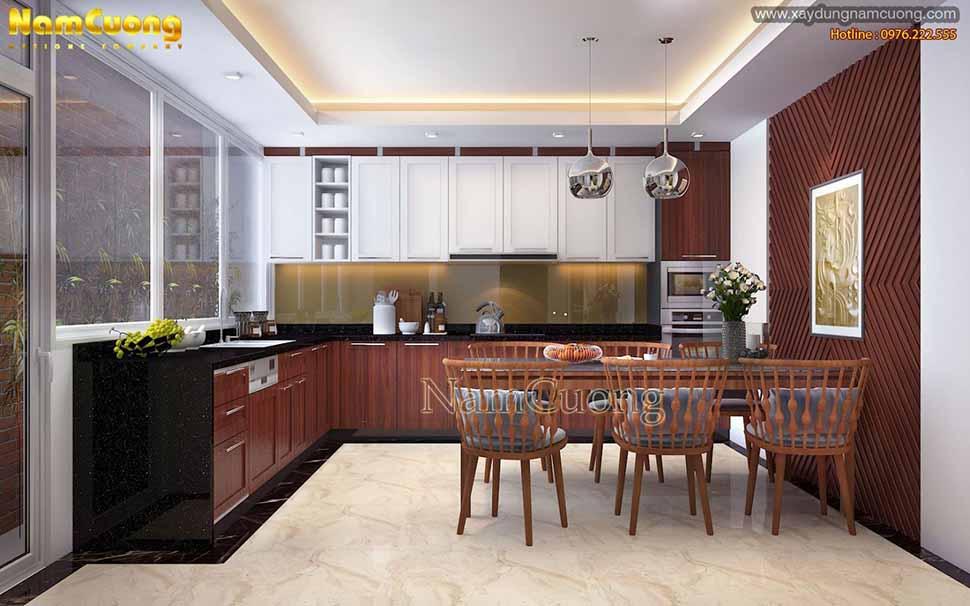 nội thất bếp ăn nhà mặt tiền nhà ống 4 tầng