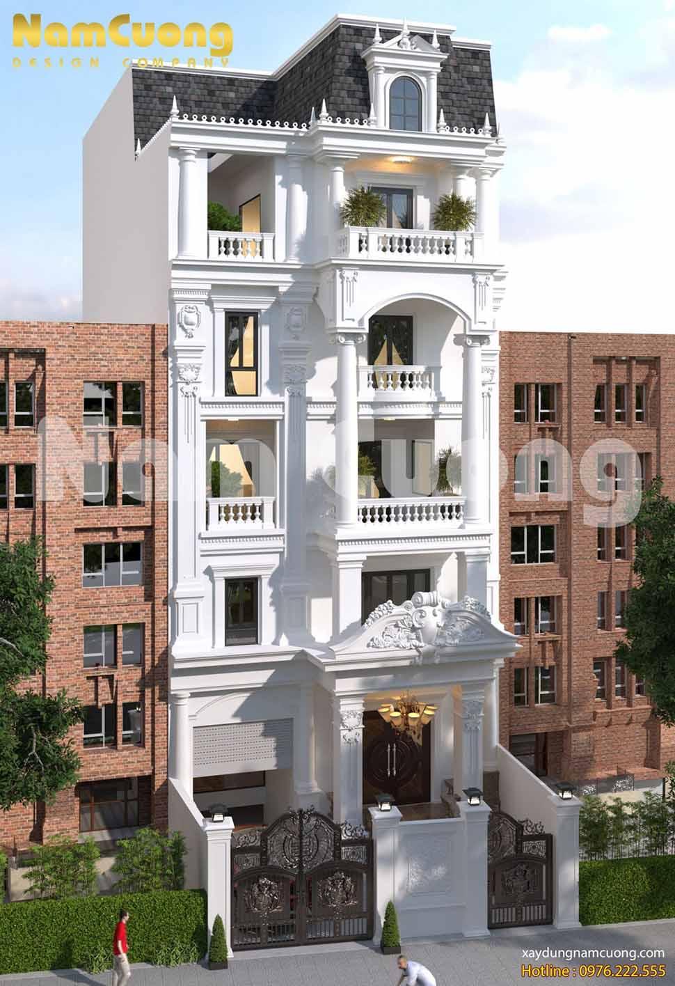 kiến trúc nhà 6 tầng