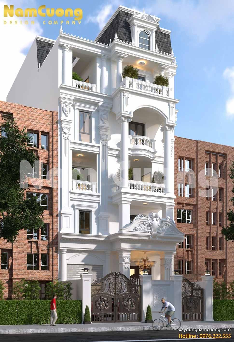 mặt tiền mẫu nhà 6 tầng đẹp