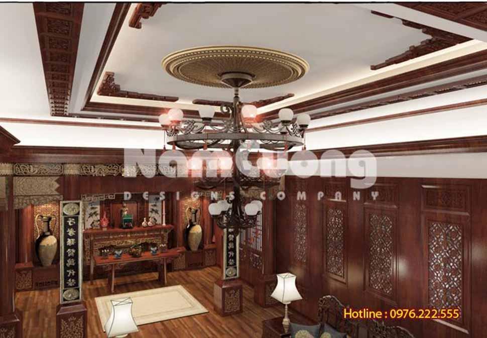 Phòng thờ linh thiêng bố trí hợp phong thủy, không gian trang trọng chủ yếu sử dụng nội thất bằng gỗ quý