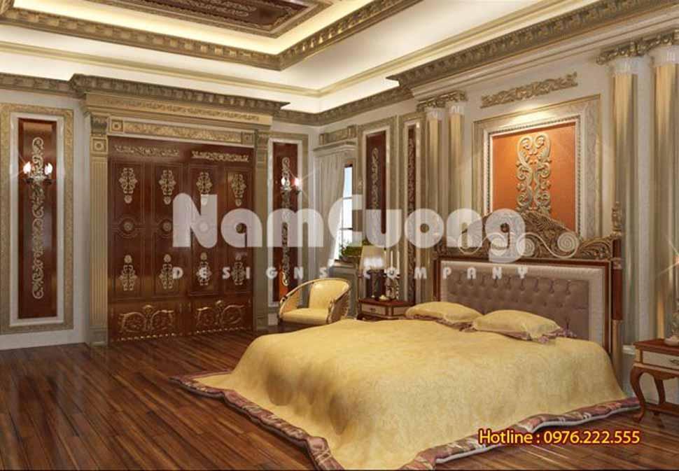 Phòng ngủ sang trọng, kiểu cách hoàng gia, hài hòa ánh sáng và màu sắc nhã nhặn