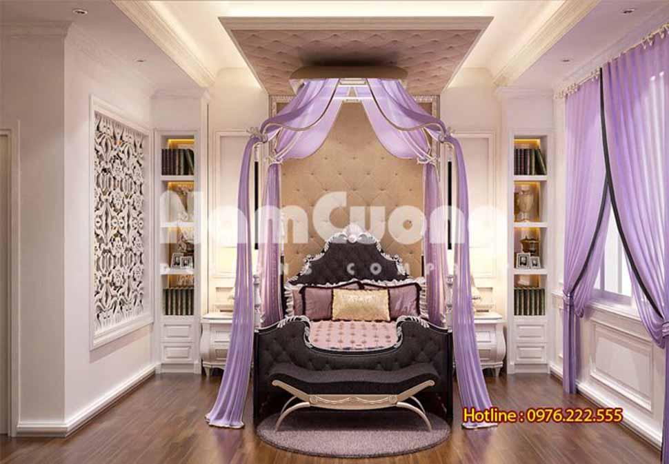 phòng ngủ màu tím