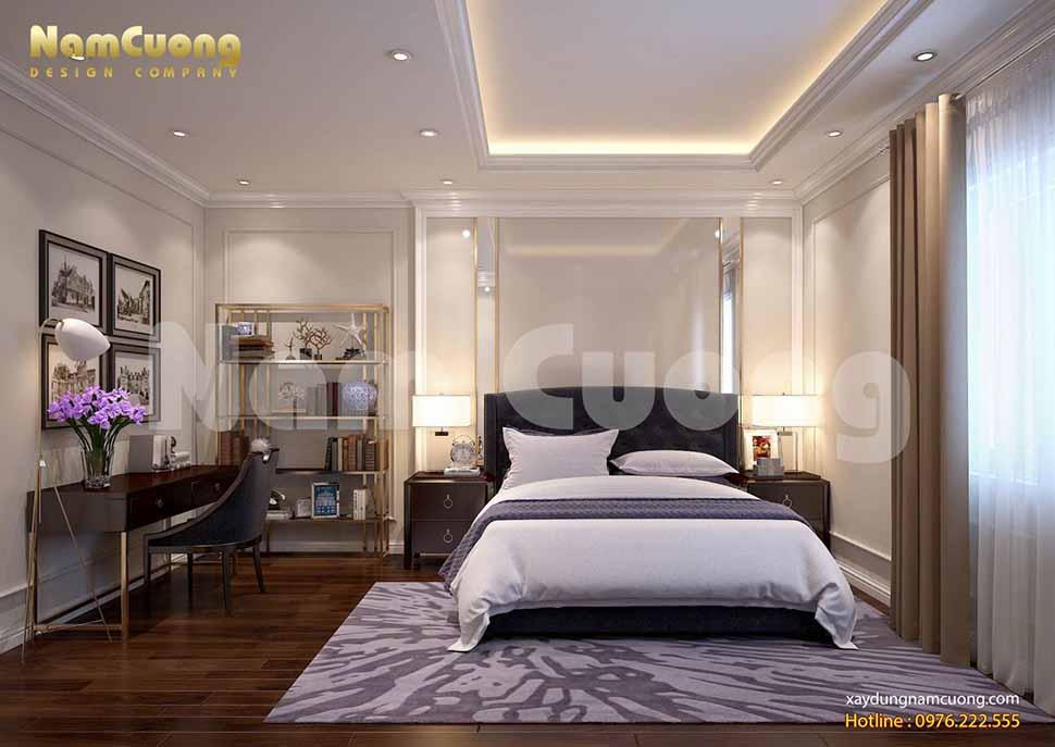 Phòng ngủ 4 của mẫu nhà phố song lập phong cách hiện đại