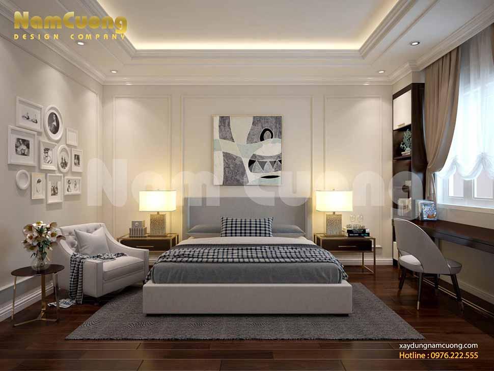 Nội thất phòng ngủ 2 của mẫu nhà phố song lập phong cách hiện đại