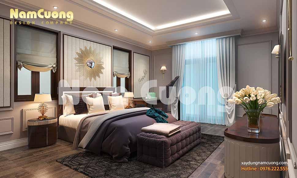 không gian phòng ngủ 25m2 có phòng thay đồ