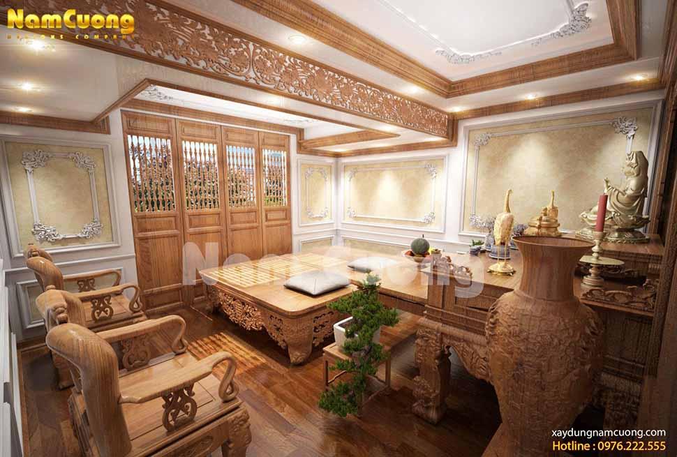 khu thờ cúng trong biệt thự