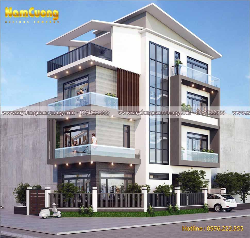 kiến trúc nhà phố 2 mặt tiền