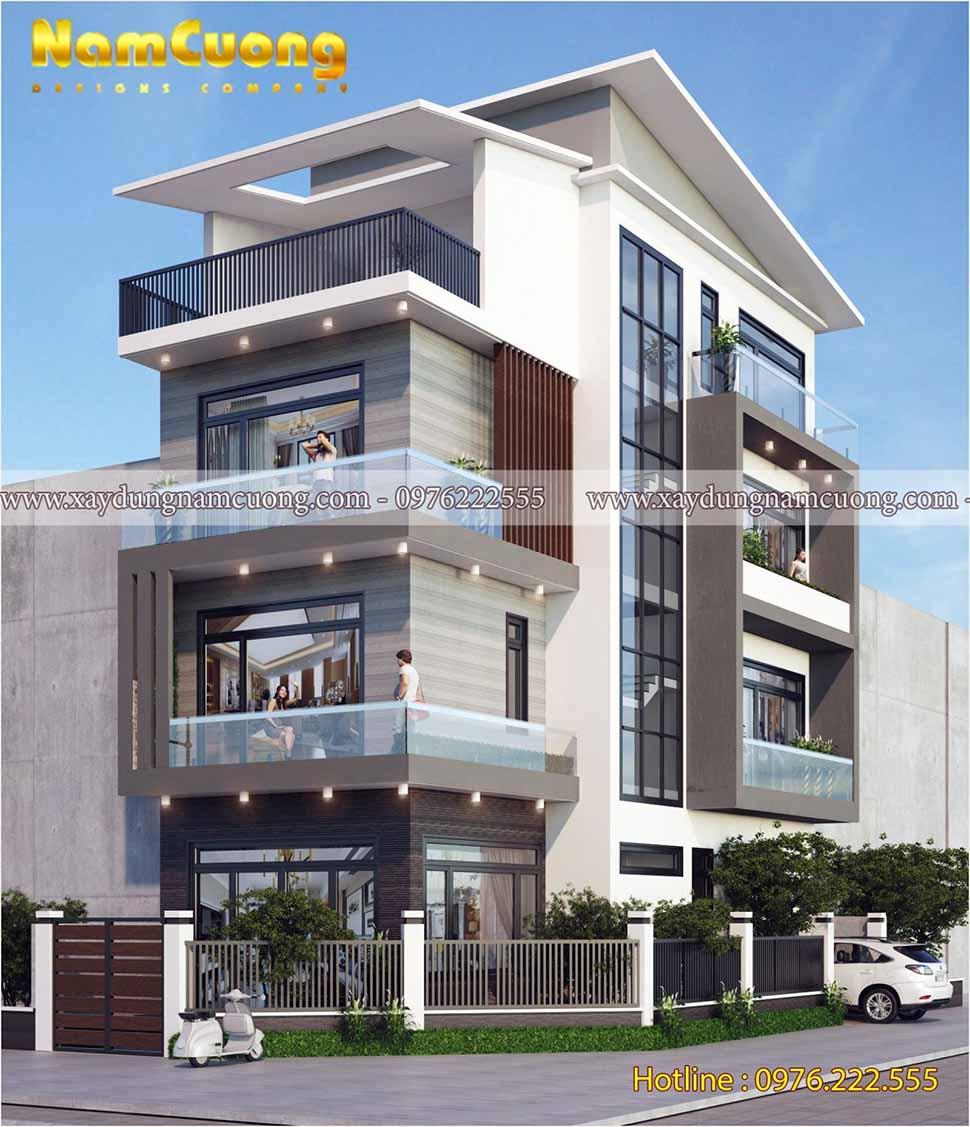 kiến trúc nhà 4 tầng hiện đại